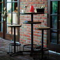 デトロイトテーブル スチール(黒革調塗装) 天版面チーク材