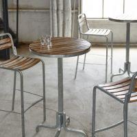 オーリンズハイテーブル H1050  チーク材、リサイクルボートウッド